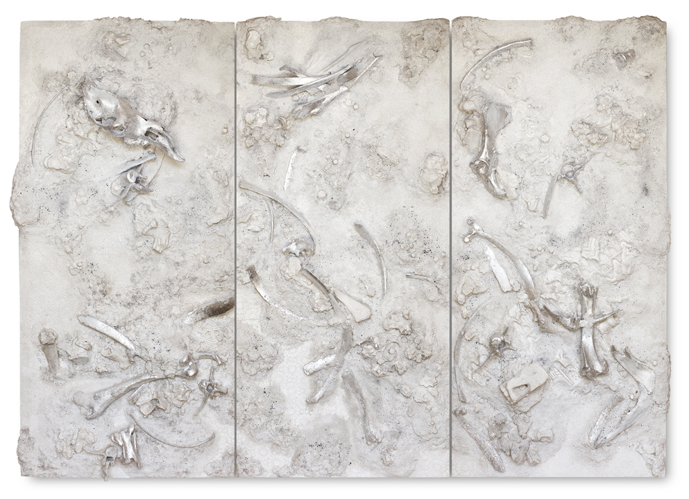 untitled - 3 panel salt & bones #1 - Acrylic paint, plaster, bones, styrofoam, kohl, silver paper and salt on wood - 183 cm x 252 cm x 25 cm - 2018