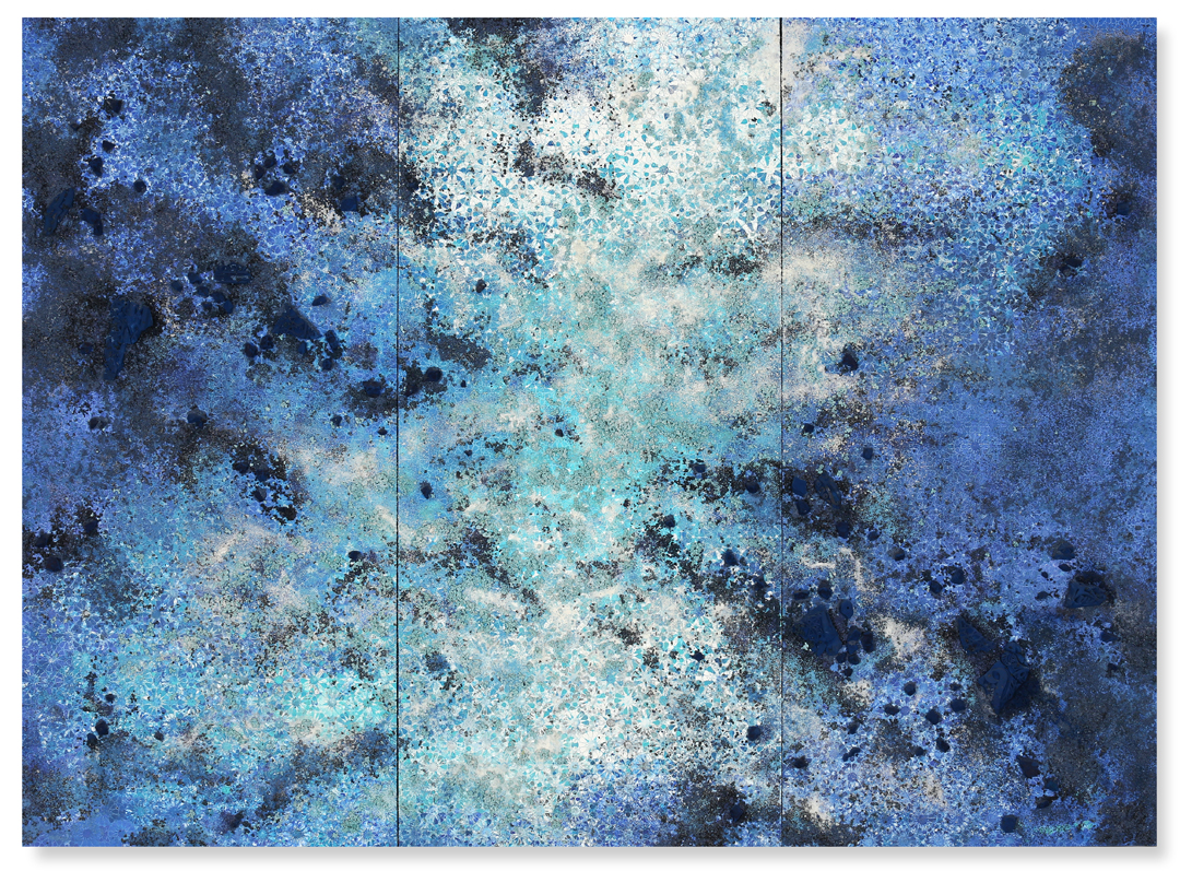 Blue and White Trio #2, 2017 -  acrylic paint, Tuareg indigo, salt and gravel on wood panel - Triptych: 74.4 x 100.1 in | 189 x 256 cm