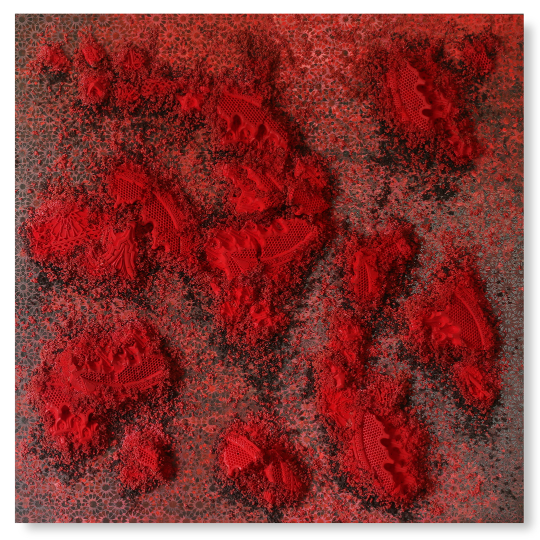 Red and Black Square #1, 2017 -  acrylic paint, pigments, plaster and gravel on wood panel - 62.2x62.2in | 158x158cm