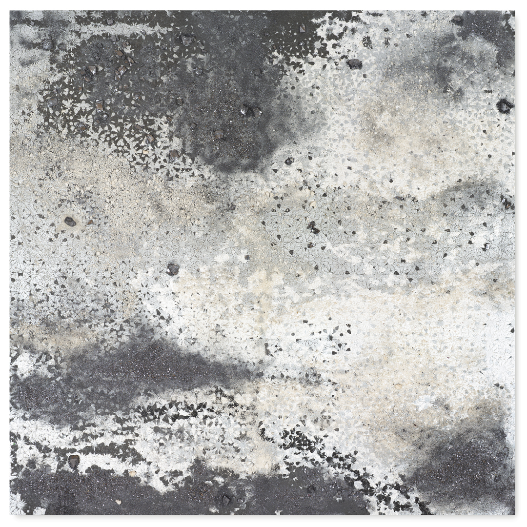 Silver Square #1, 2016  - Acrylic paint, pigments, salt, kohl minerals, ashes and gravel on wood - 158x158cm-62.2x62.2in.