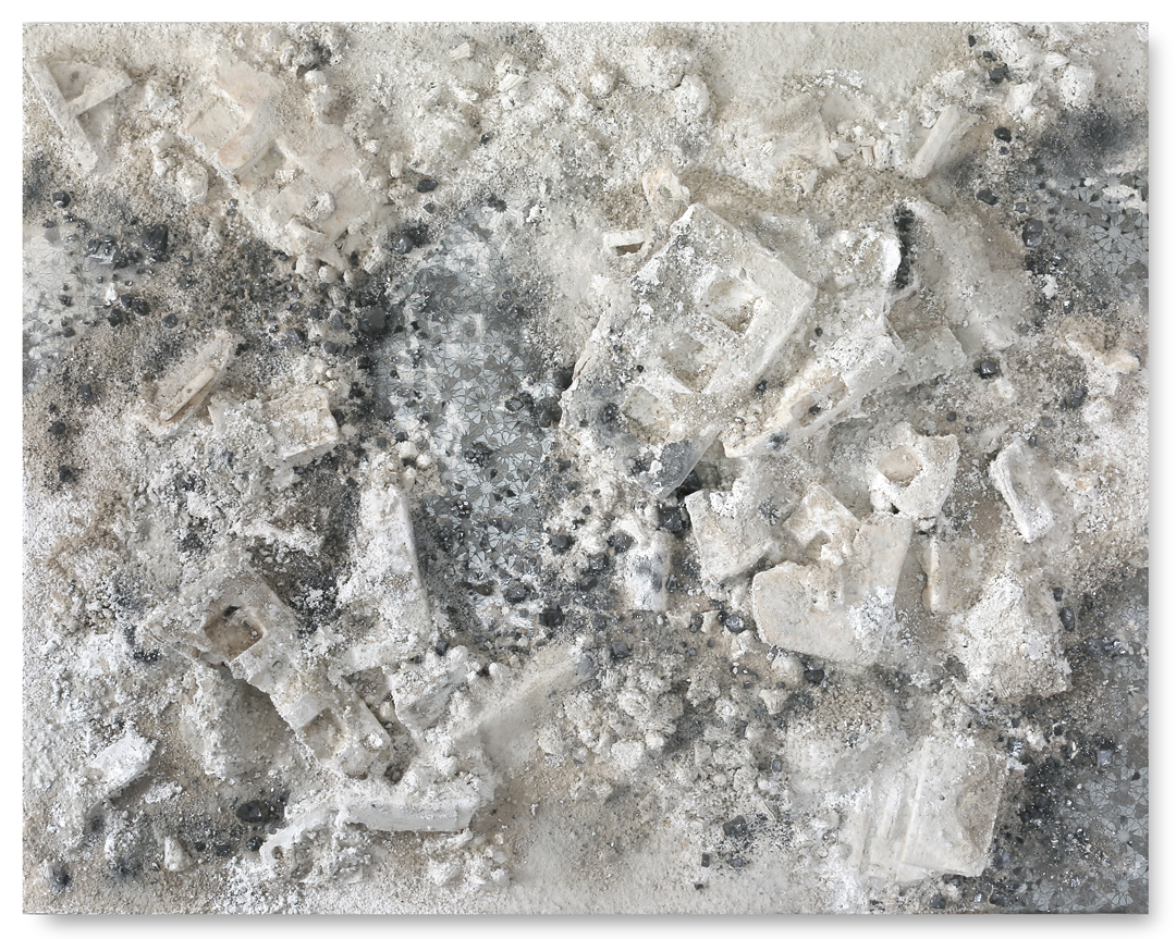 Grey White Rectangle #1, 2017 -  acrylic paint, ashes, kôhl, found objects and salt on wood panel - 59.1x74.8in |150x190cm