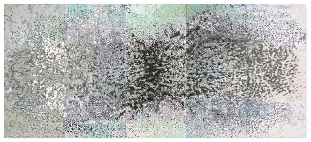 Green 5 Panel #1, 2016  - Acrylic paint, pigments, salt and gravel on wood - 190 x 435 cm - 74.8 x 171.3 in.
