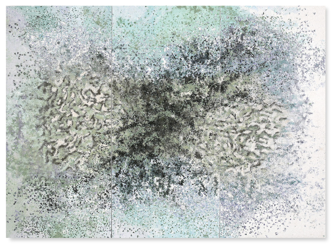 Green Trio #1, 2017 -  Acrylic paint, pigments, salt and gravel on wood - 188 x 257 cm - 74 x 101.2 in