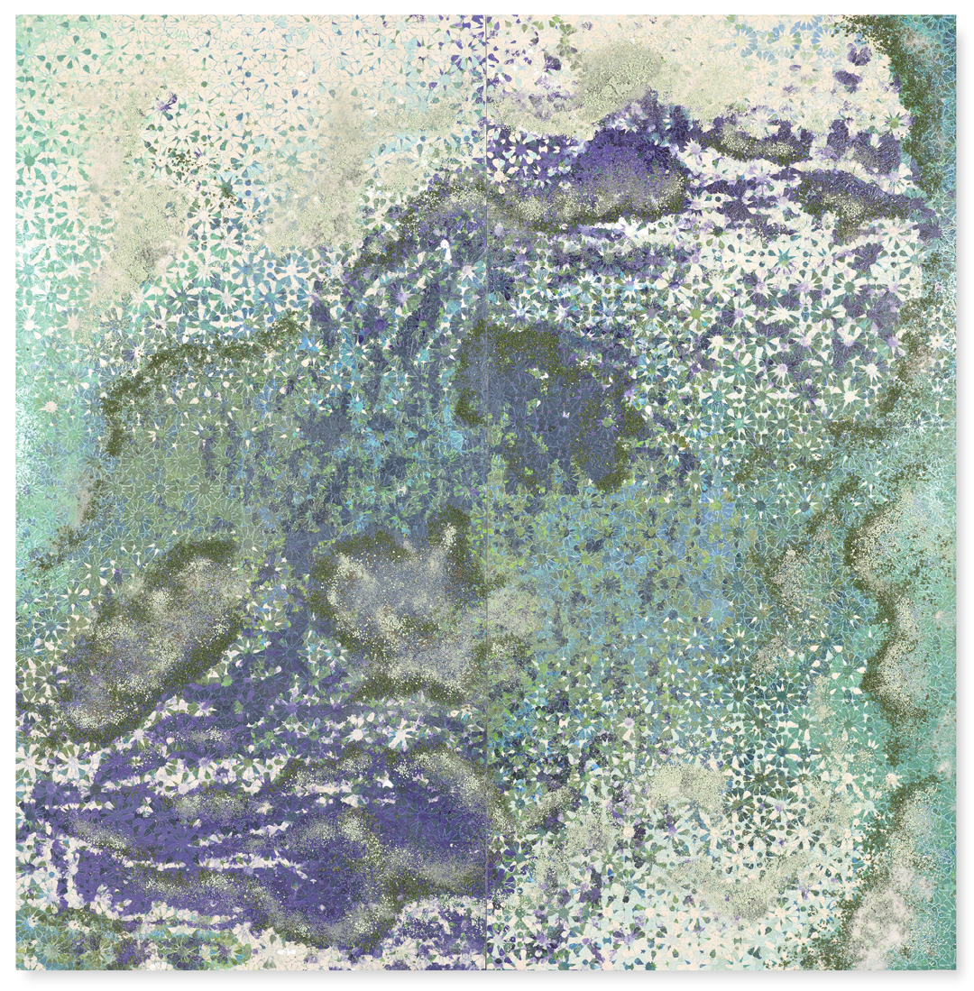 Green & Purple Duo #1, 2016  - Acrylic paint, pigments, salt and gravel on wood - 183 x 180 cm - 72 x 70.9 in.