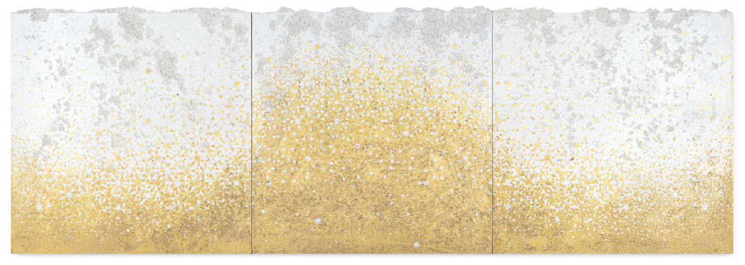 Gold & White Trio #1, 2016  - Acrylic paint, pigments, salt and gravel on wood - 110 x 312 cm - 43.3 x 122.8 in.
