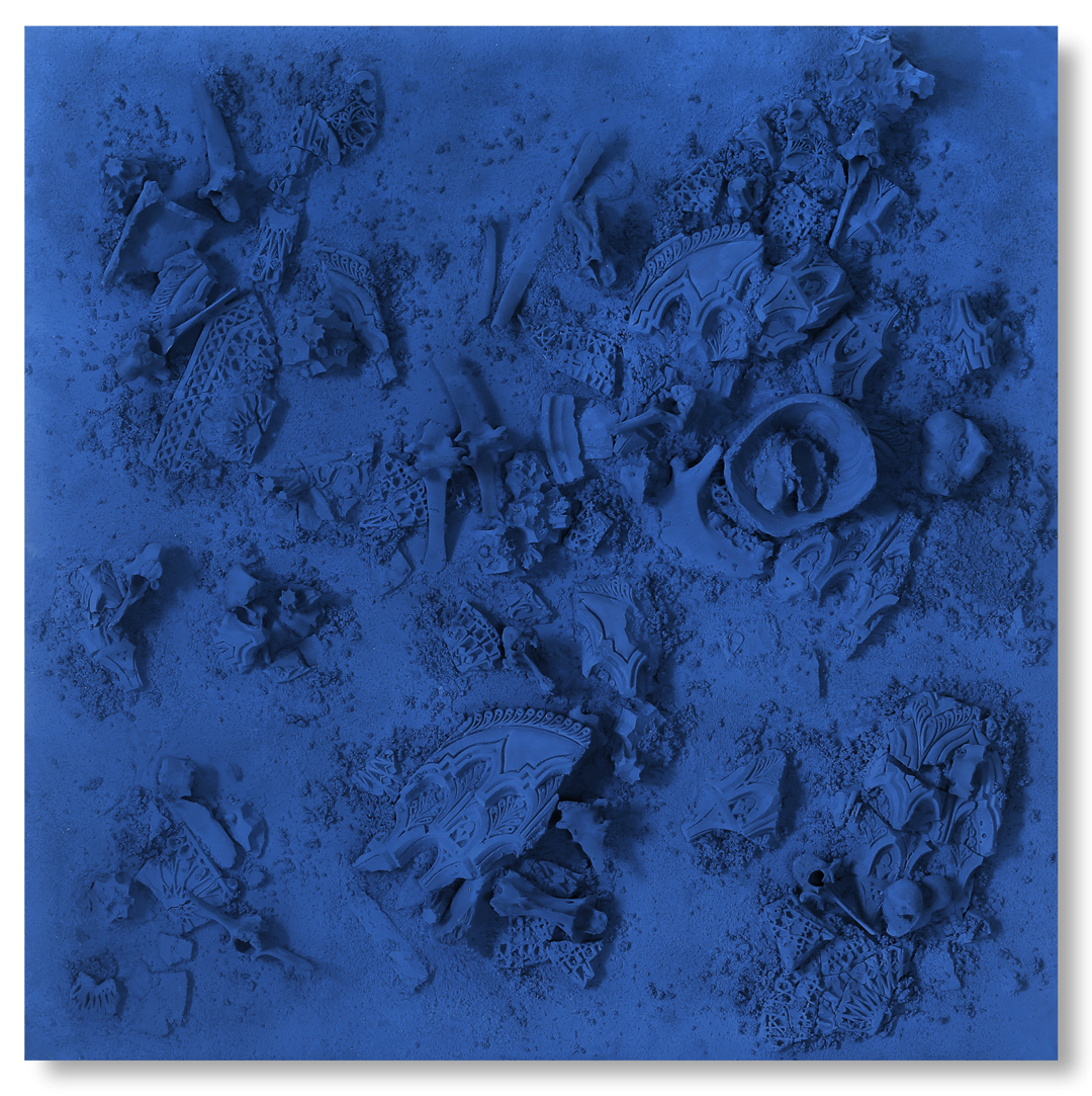 Blue Square #1, 2017 -  Tuareg indigo, gravel, found objects on wood panel - 62.2x62.2in | 158x158cm