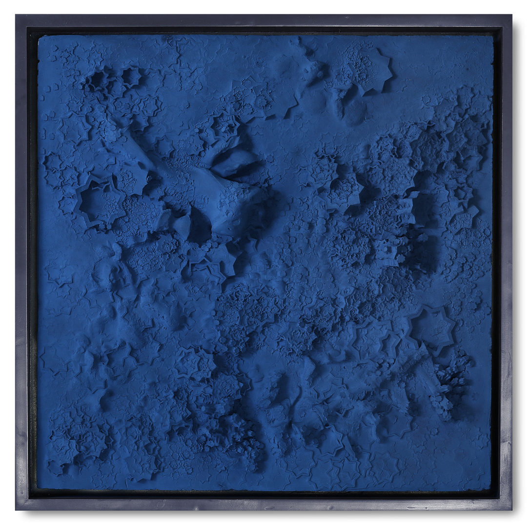 Blue Plaster Square #1, 2017  - Tuareg indigo and plaster on wood panel  -  36.2 x 36.2 in | 92 x 92 cm