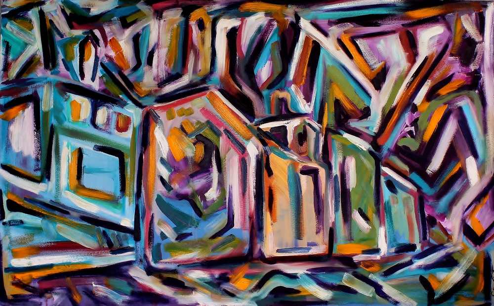 Rainbow Row    Oil on Canvas  48 x 30  Sold