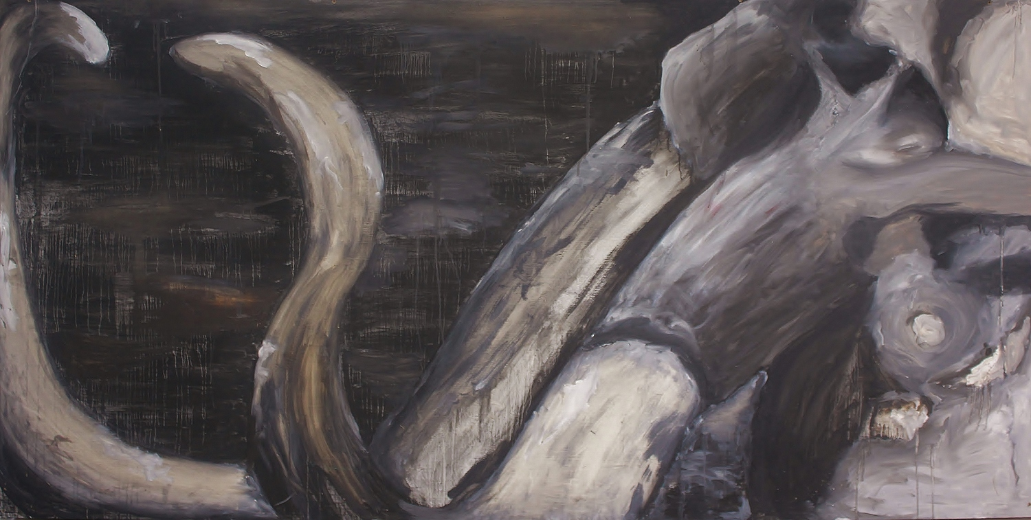 Mammoth    Oil and Charcoal on Masonite  96 x 48  Sold