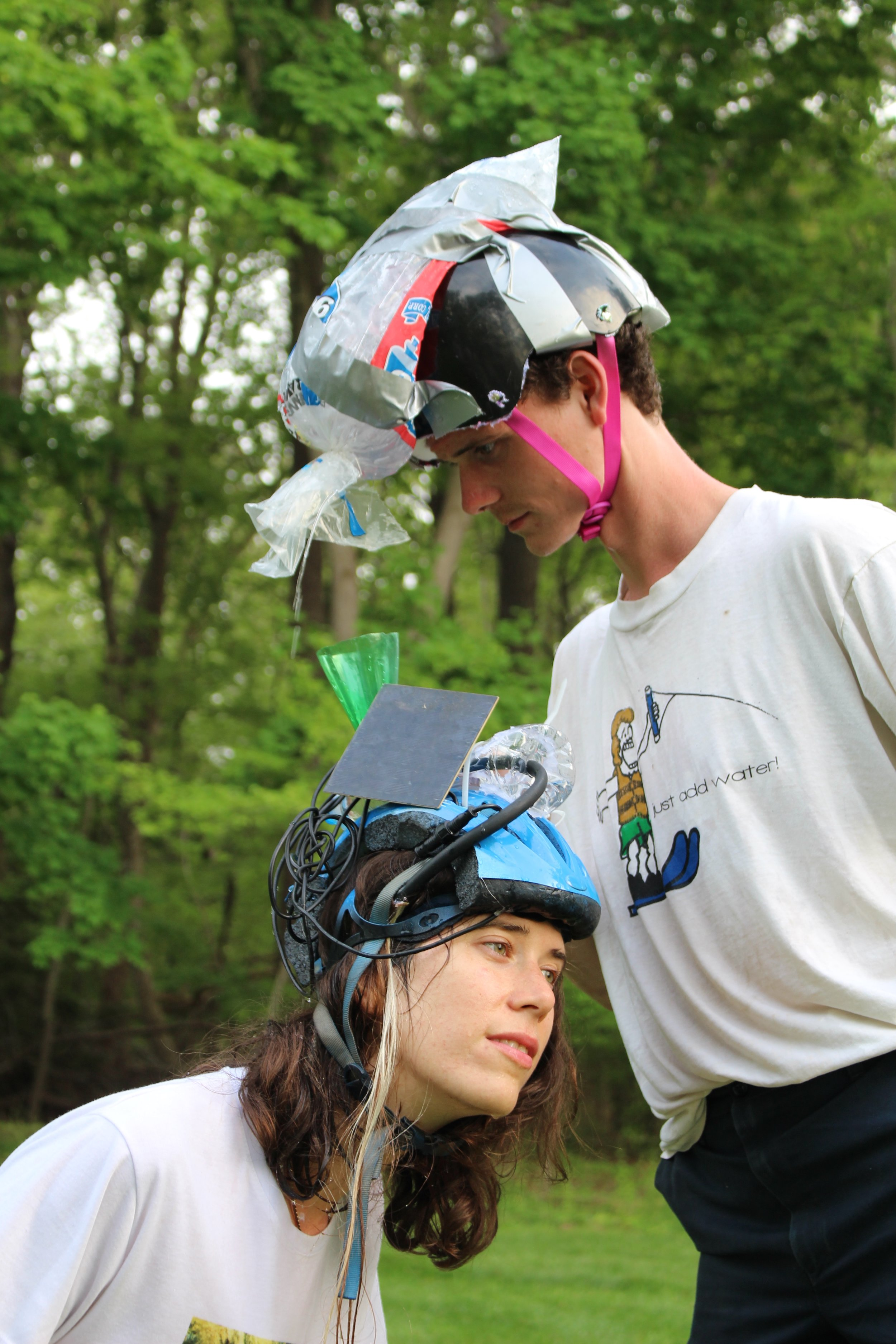 Detail of  Untitled performative helmets worn in conjunction withSkarch Fountainon the occasion of Portia di Plastica at Post Morrow Foundation