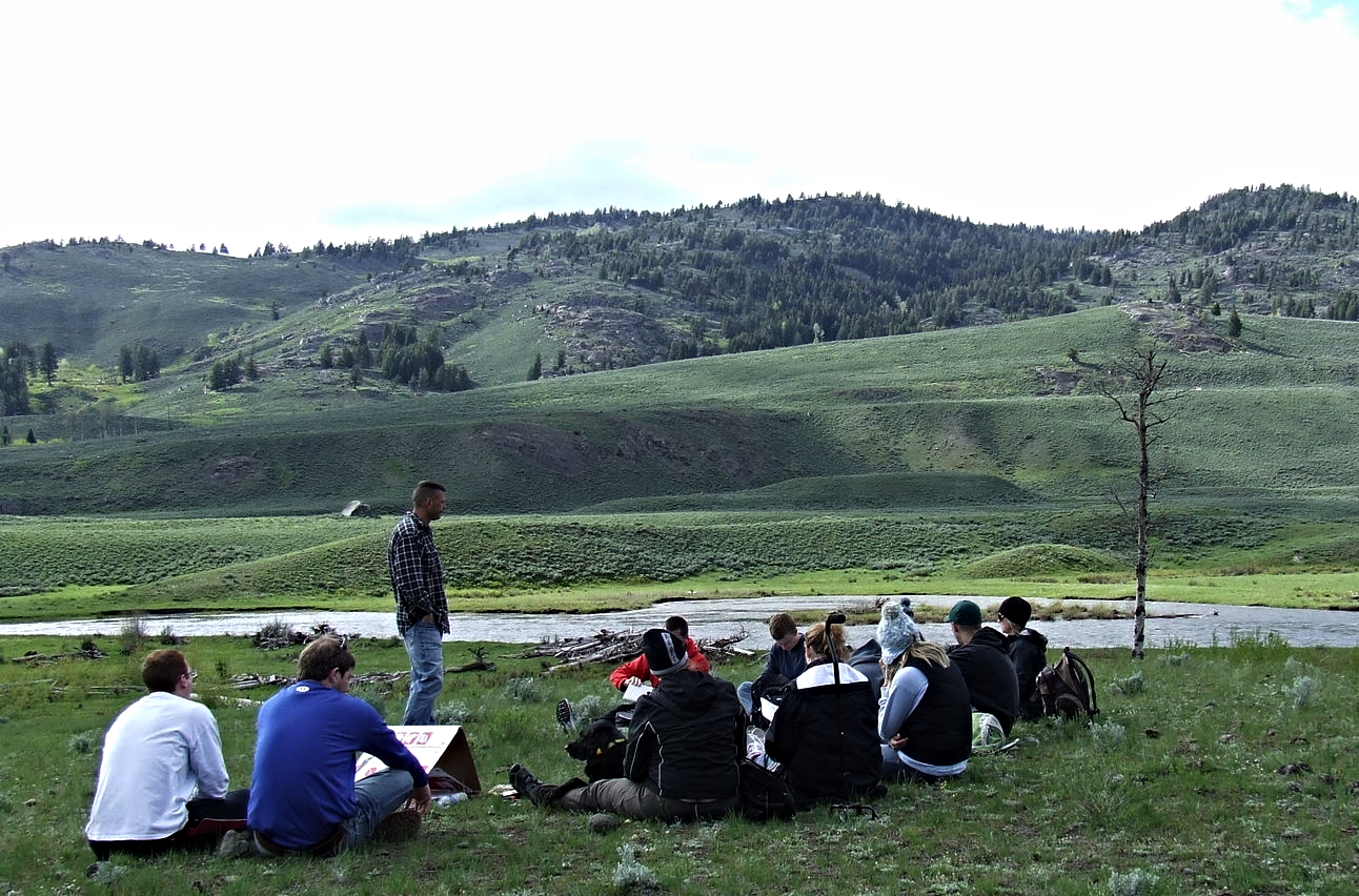 "Dr. Leon and ""Wilderness and Religious Imagination"" class, Yellowstone NP (XE photo)"
