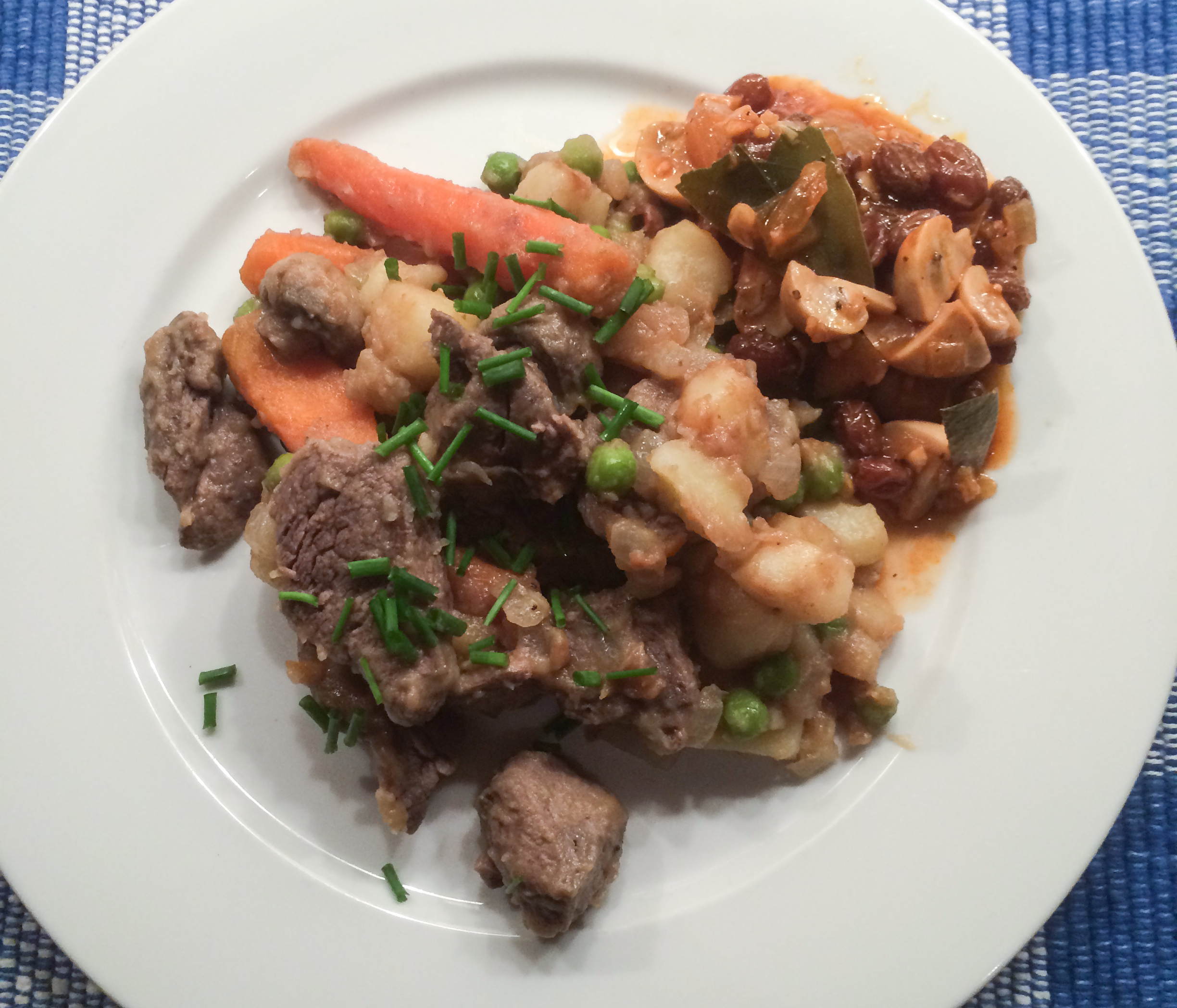 Beef Tenderloin Stew with Mushroom & Raisin Chutney