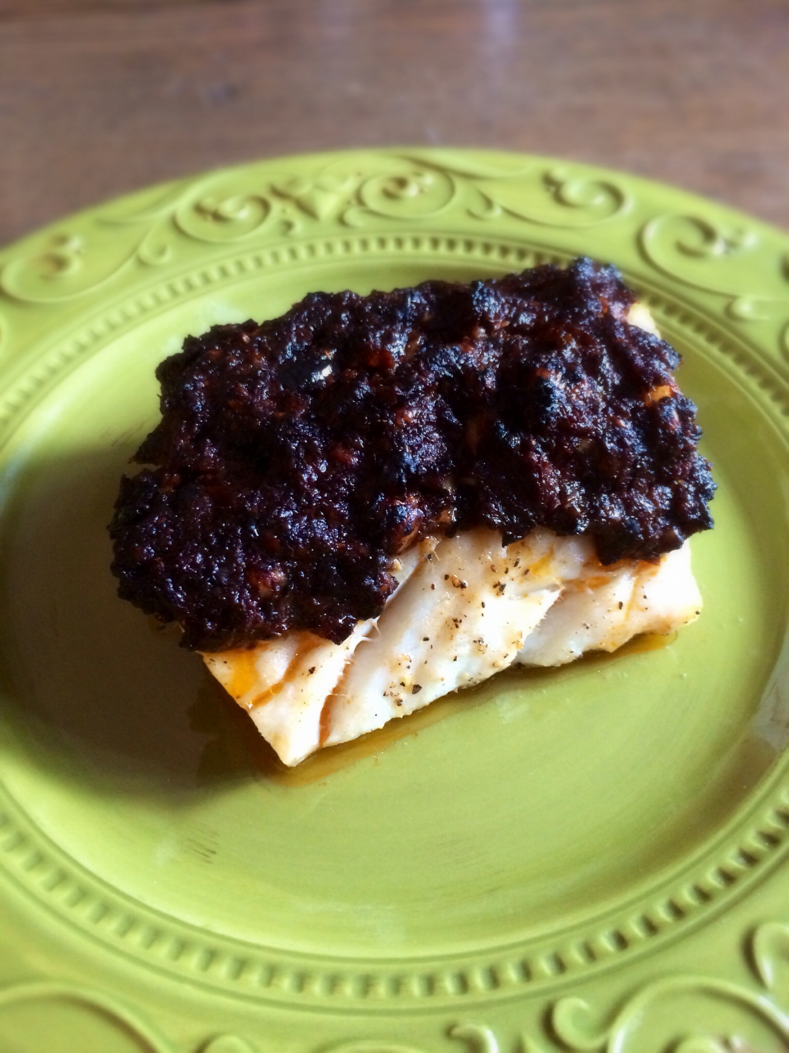 Cod with Olive-Tomato Crust