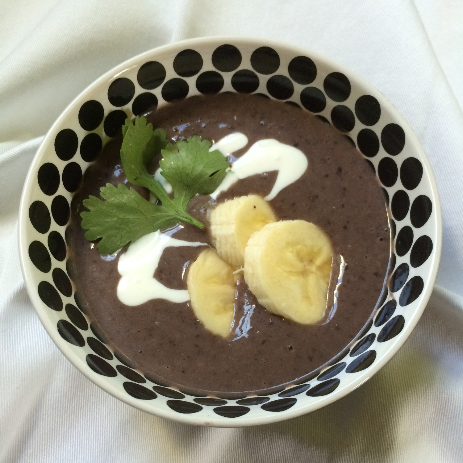 Cold Black Bean Soup with Banana