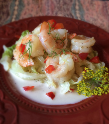 Shrimp with Cabbage & Red Pepper