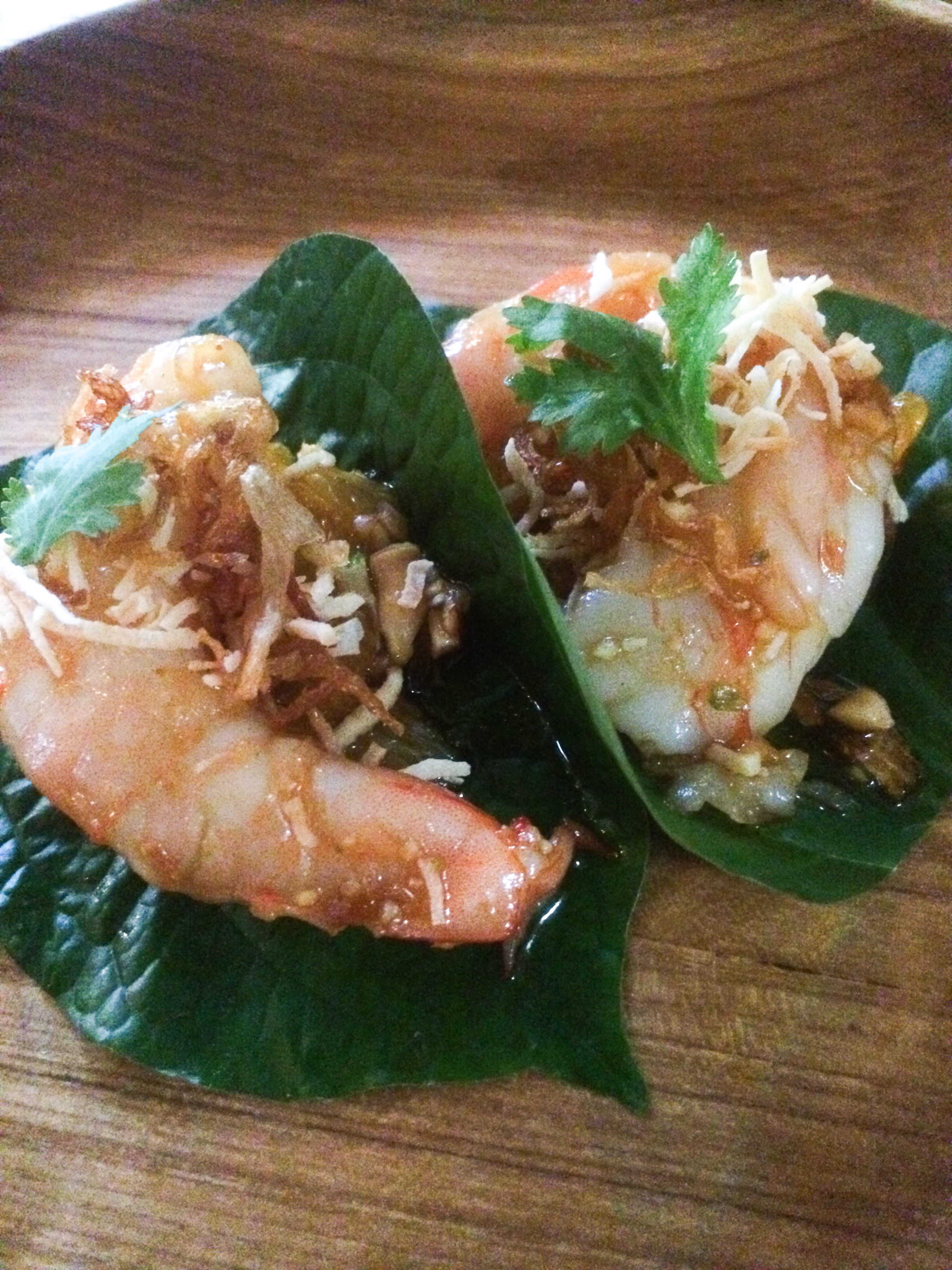 Orange, Shrimp, Shallot, Chili, Lime, Ginger, Betel Leaf