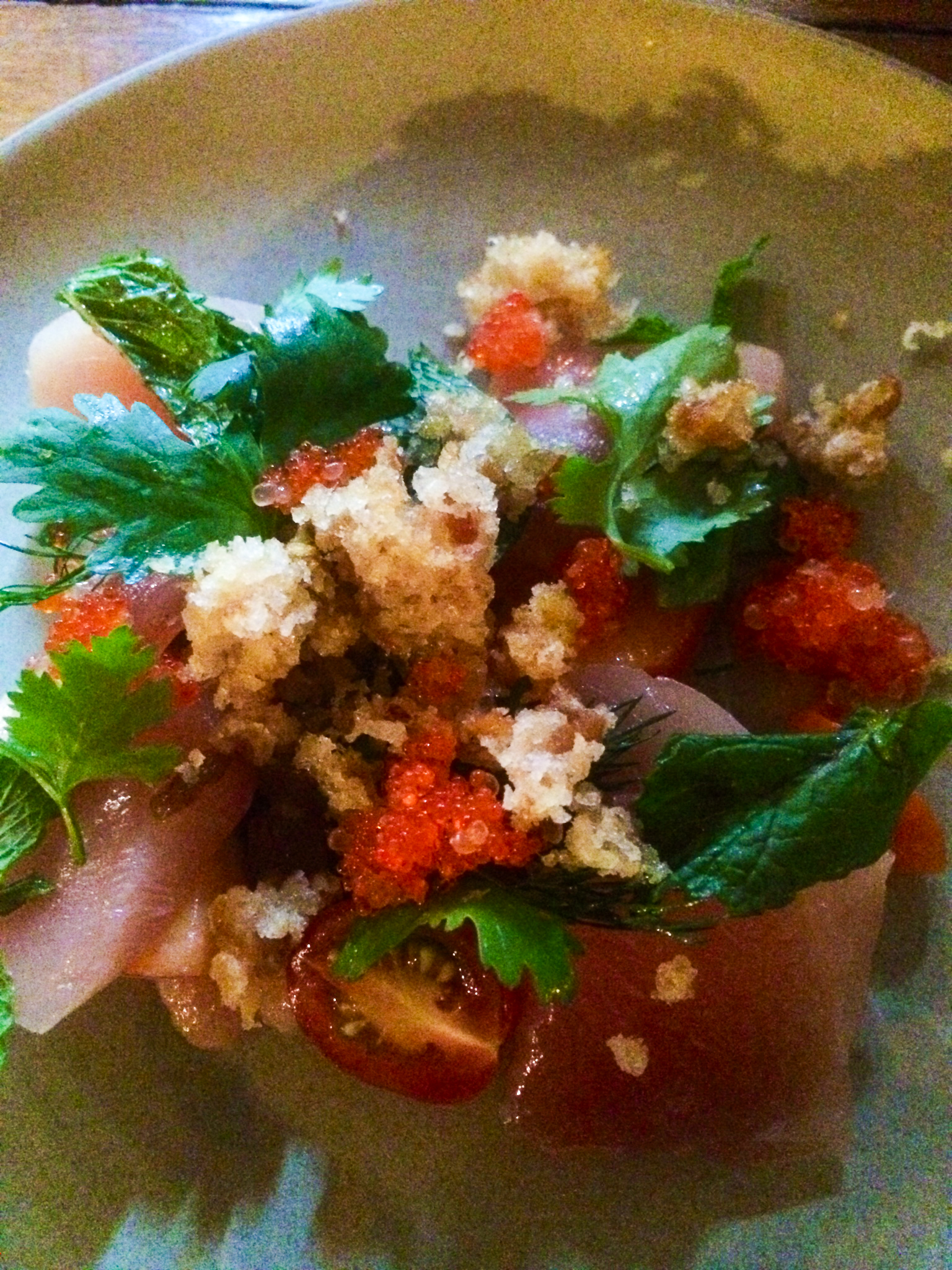 Albacore 3 Ways, Peach, Dill, Mint, Tobiko