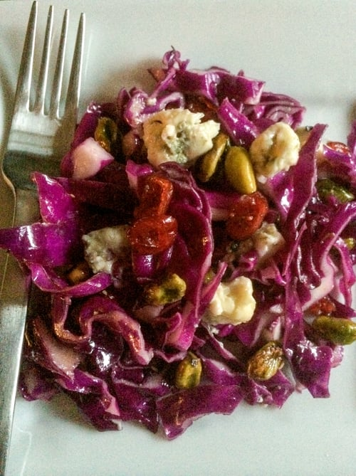 Red Cabbage, Pistachio, Cranberry Salad w/Blue Cheese