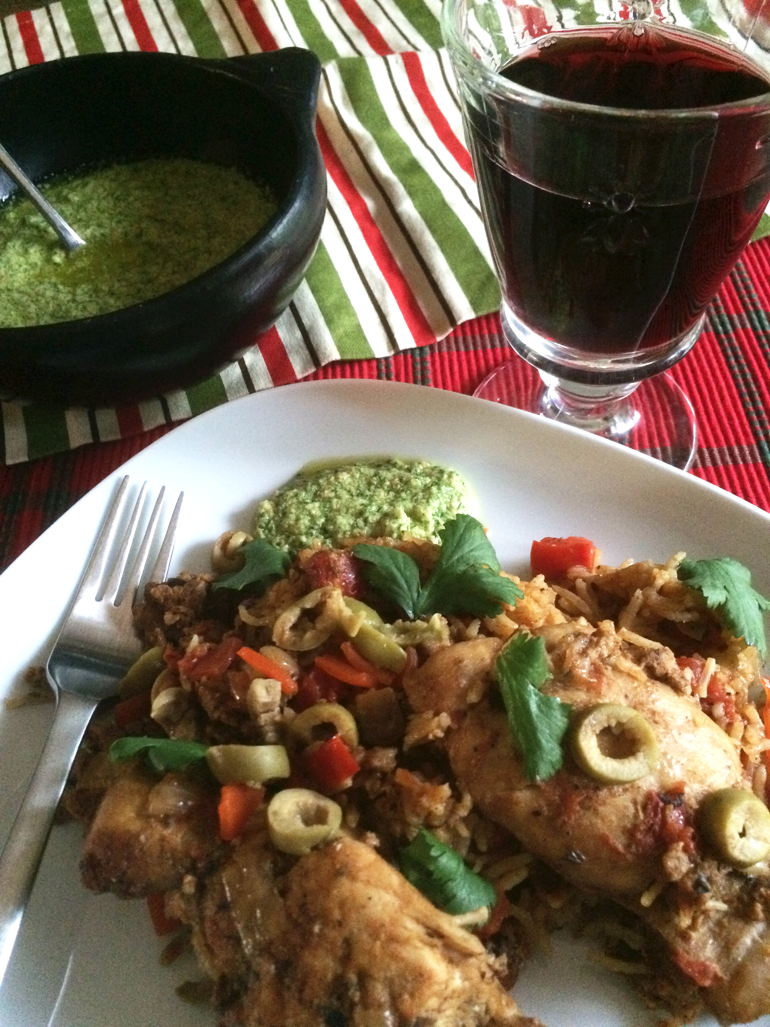 Arroz con Pollo with Salsa Verde