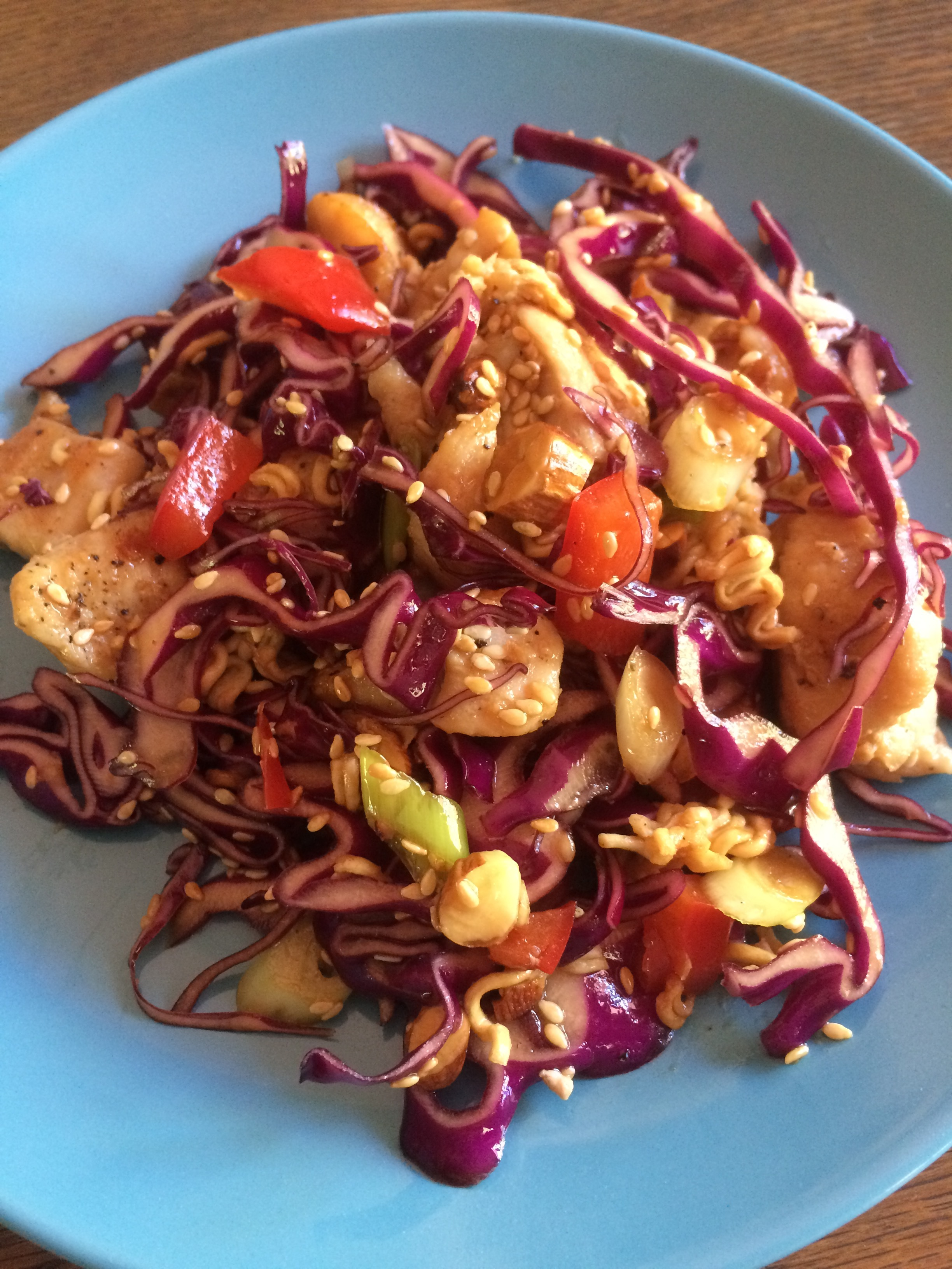 Oriental Chicken Cabbage Salad with Ramen Crunch