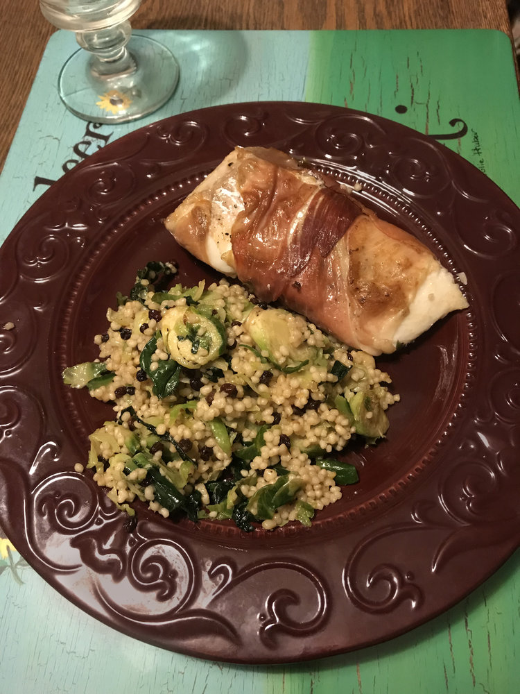 Prosciutto Wrapped Halibut with Vegetable Couscous