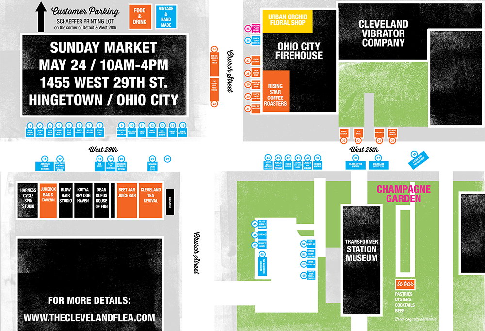 Download the  MAY 2015 SUNDAY MARKET MAP  (PDF) for clickable vendor booths and zoom (Cmd/Ctrl + on your computer, pinch in/out on mobile).  Orange indicates food/drink, blue is vintage/handmade vendors, black shows more Hingetown shops and buildings.