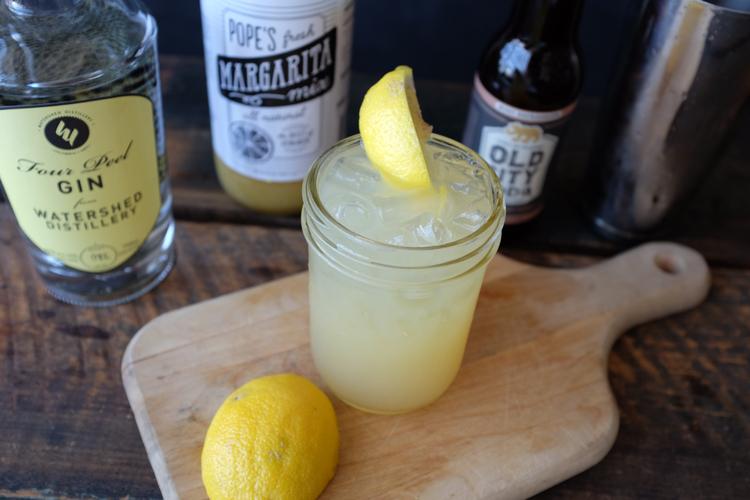 GIN DAISY {$7}  Ingredients:Watershed Distillery Four Peel Gin | Pope's (new!)Margarita Mix| OldCity Soda Grapefruit Soda | Lemon wedge