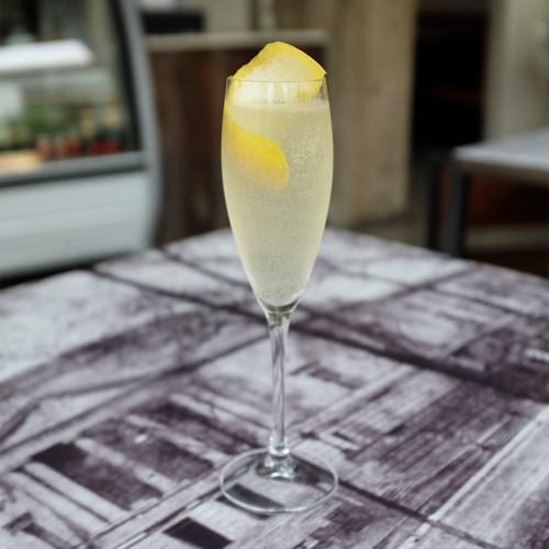 FRENCH 75  Ingredients:Watershed Gin |Domaine Muré Crémant | Lemon