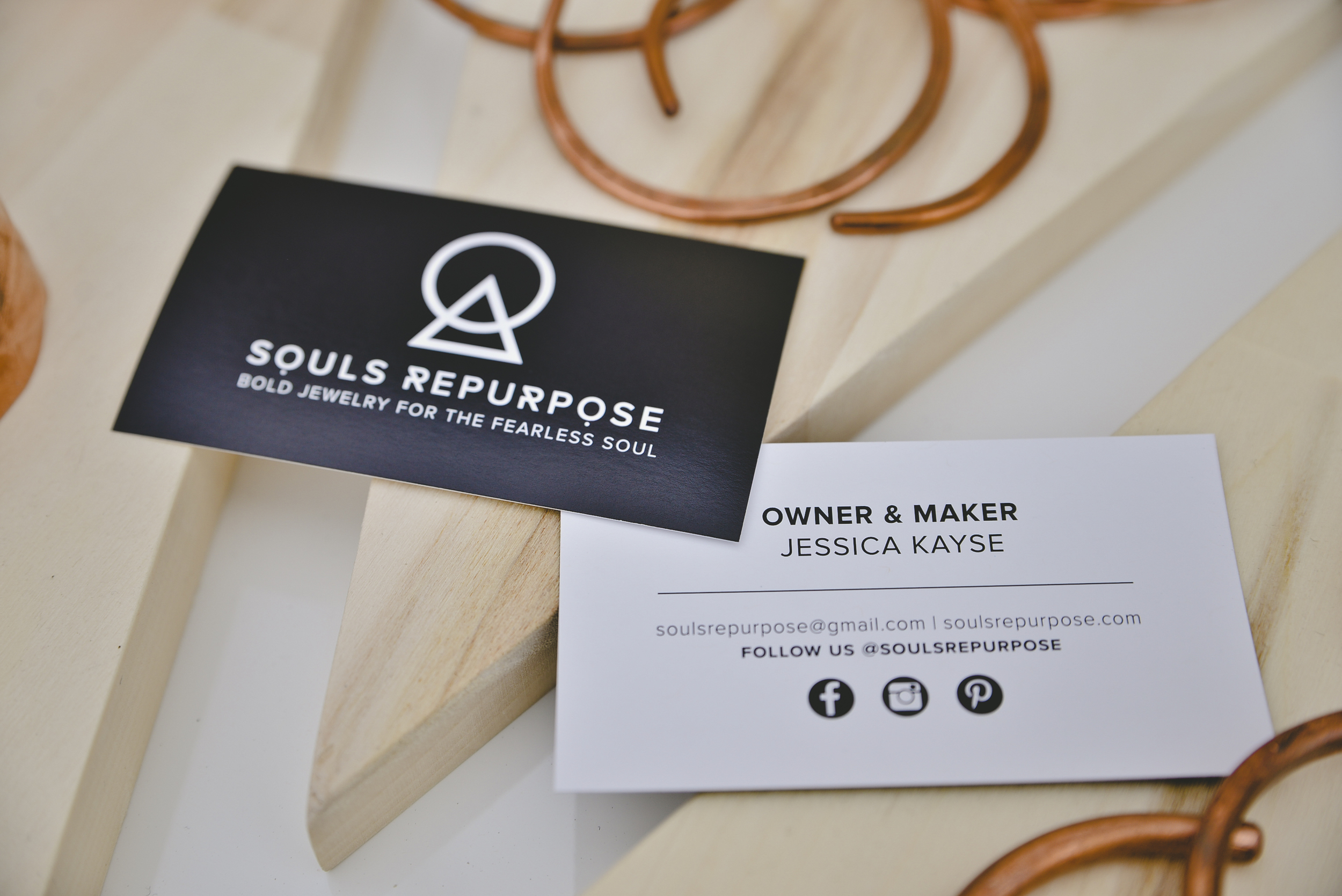 Souls Repurpose's bold business cards.