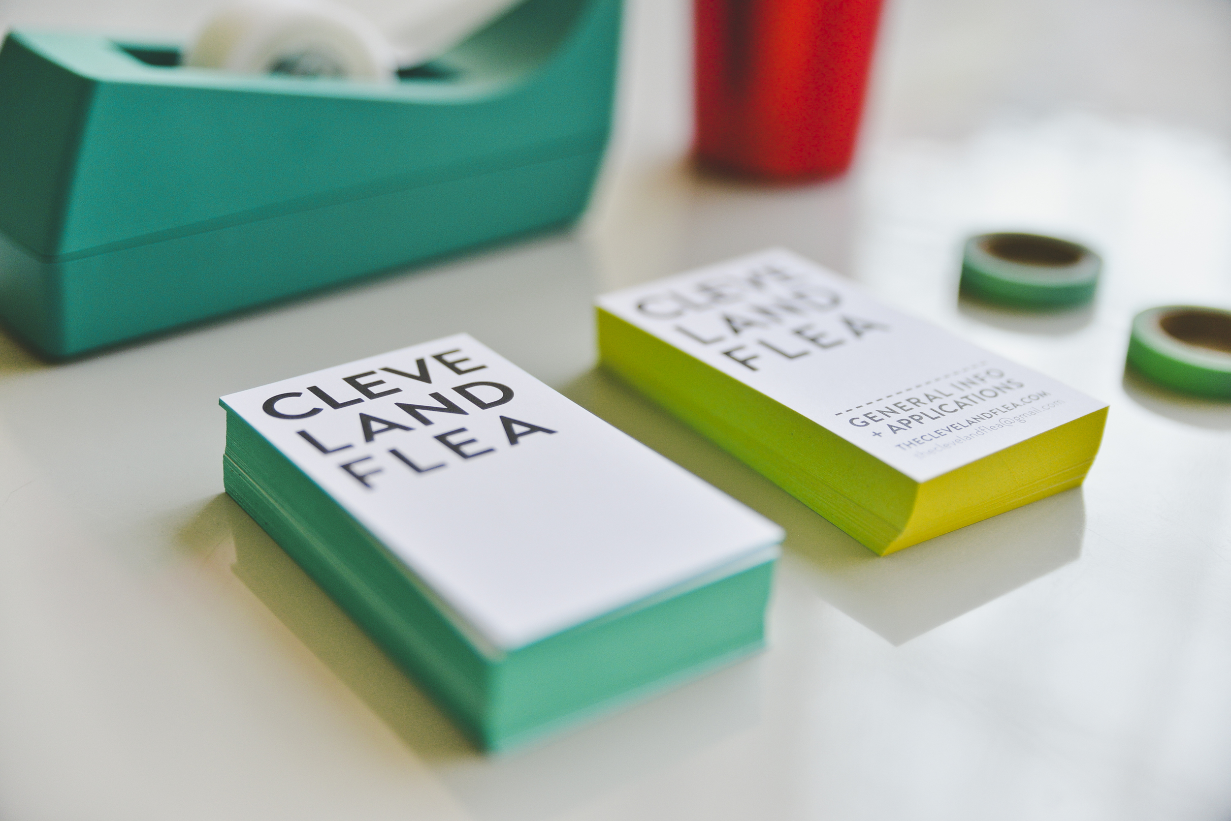 Our Team Flea Biz Cards. All the employees have their own color.  SPEC:12 pt. Uncoated Card Stock Business Cards with painted edges.