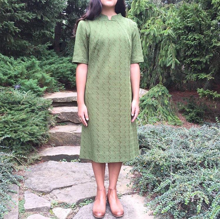 Revealed Seams_Vintage Olive Green Structured Dress_3.jpg