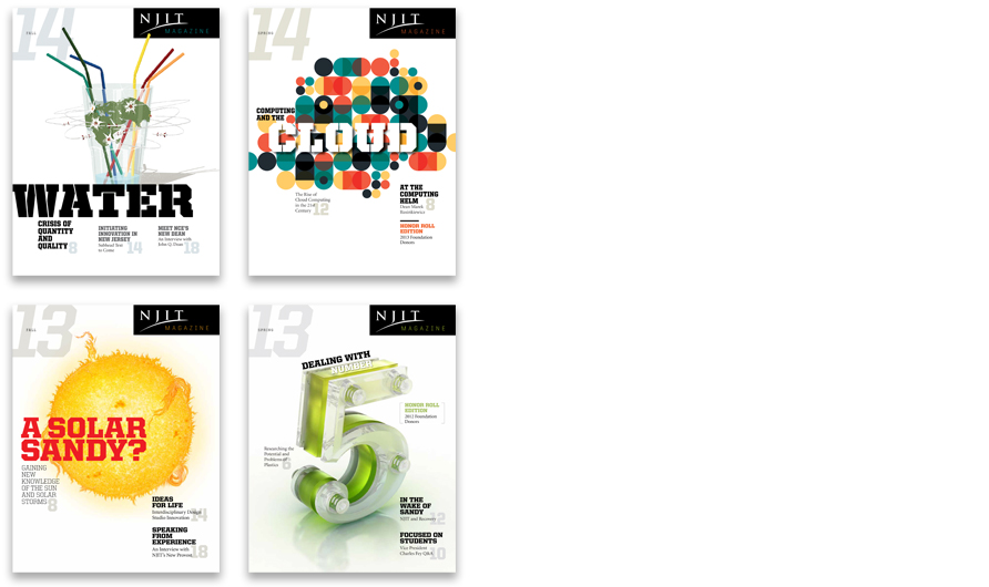 Four covers prior to the redesign: Fall 2014 (Illustrator: Mark Smith), Spring 2014 (Illustrator: Lamosca), Fall 2013 (Daniel Pyne, GettyImages), and Spring 2013 (Illustrator: John Dismukes)