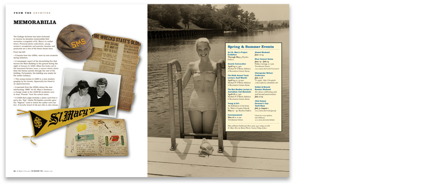Archival photos are used throughout the issue, including these shots from the 1950s and 60s on both inside covers.