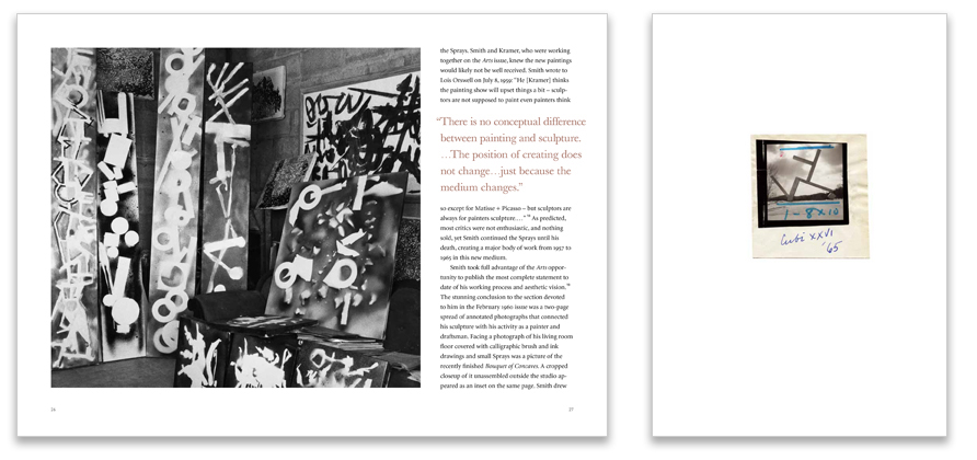 Relevant quotes, studio photos and Smith's annotated process work provide a rich, personal experience of Smith's life and work.
