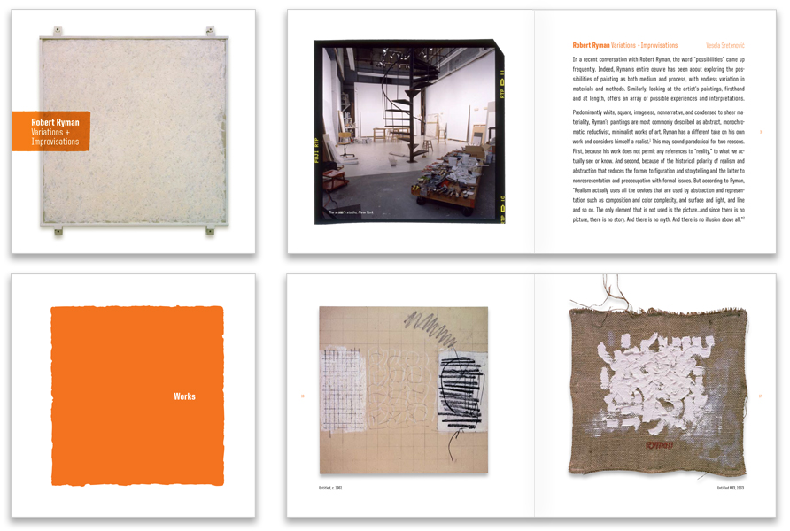 Cover, section dividers and spreads highlight the square format of the artists work.