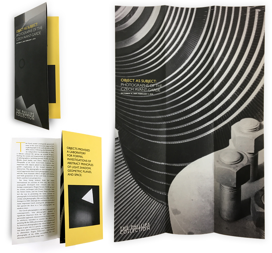 """Gallery brochure/poster for The Phillips Collection's   exhibition,""""Object As Subject: Photographs of the Czech Avant-Garde"""""""