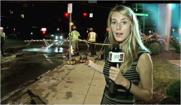 Making a demo tape of a water main break downtown!