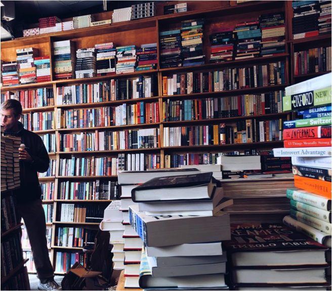 I'm also obsessed with visiting bookstores– have books, will travel