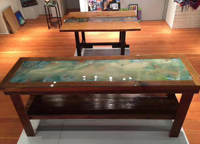 """This table is made from weathered Salt Spring Cedar, and is 76"""" long by approx 22"""" wide and33"""" high. The artwork is one of my original Plexiglas artworks, protected by 1/4"""" safety glass. This table could serve as a sideboard, hall or sofa table. On island shipping included. $2500."""