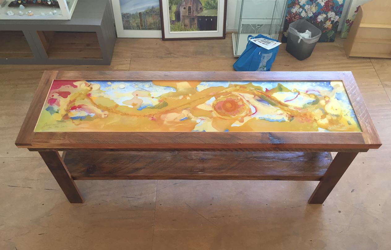 """Journey to the Sun"" plexiart inlay in local Salt Spring Cedar."