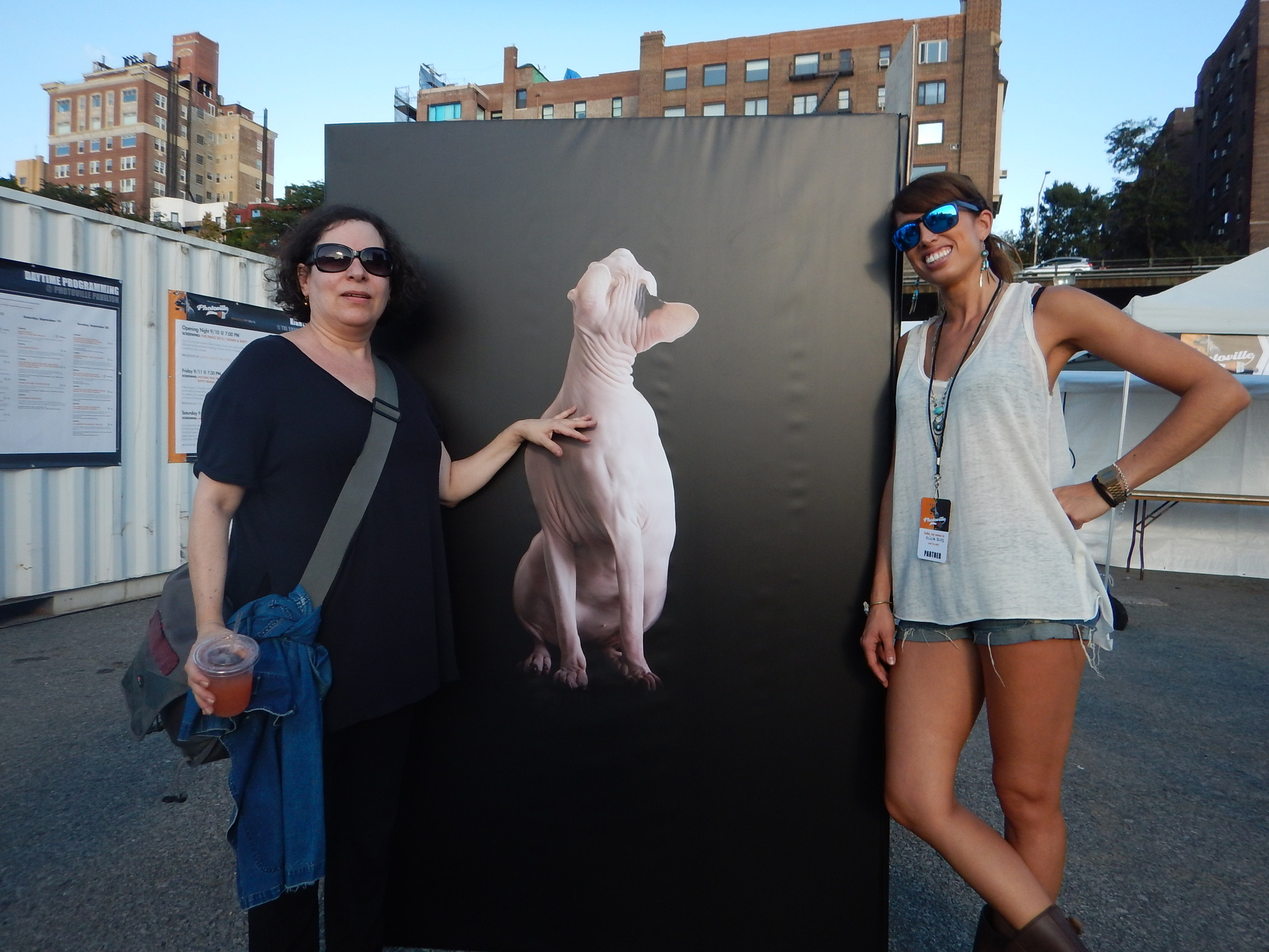 Stella Kramer (curator at Photoville) and I in front of my cube.