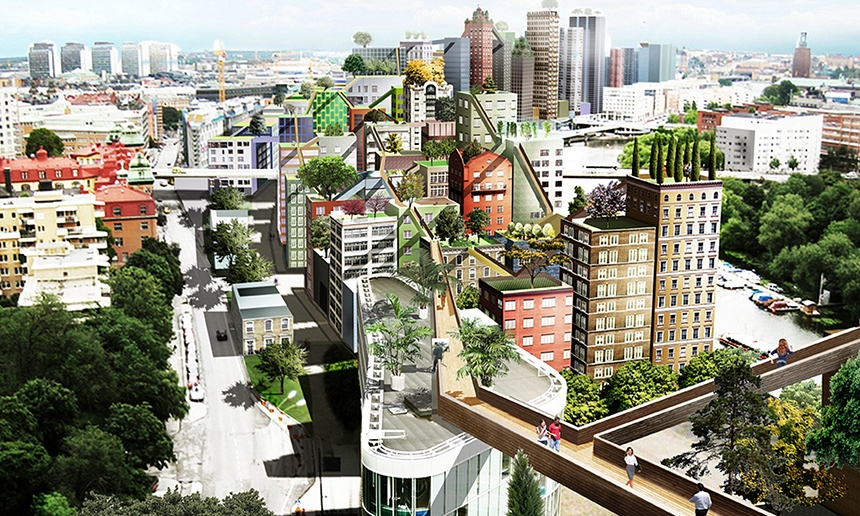 Stockholm plans walkways connecting high-rise rooftops