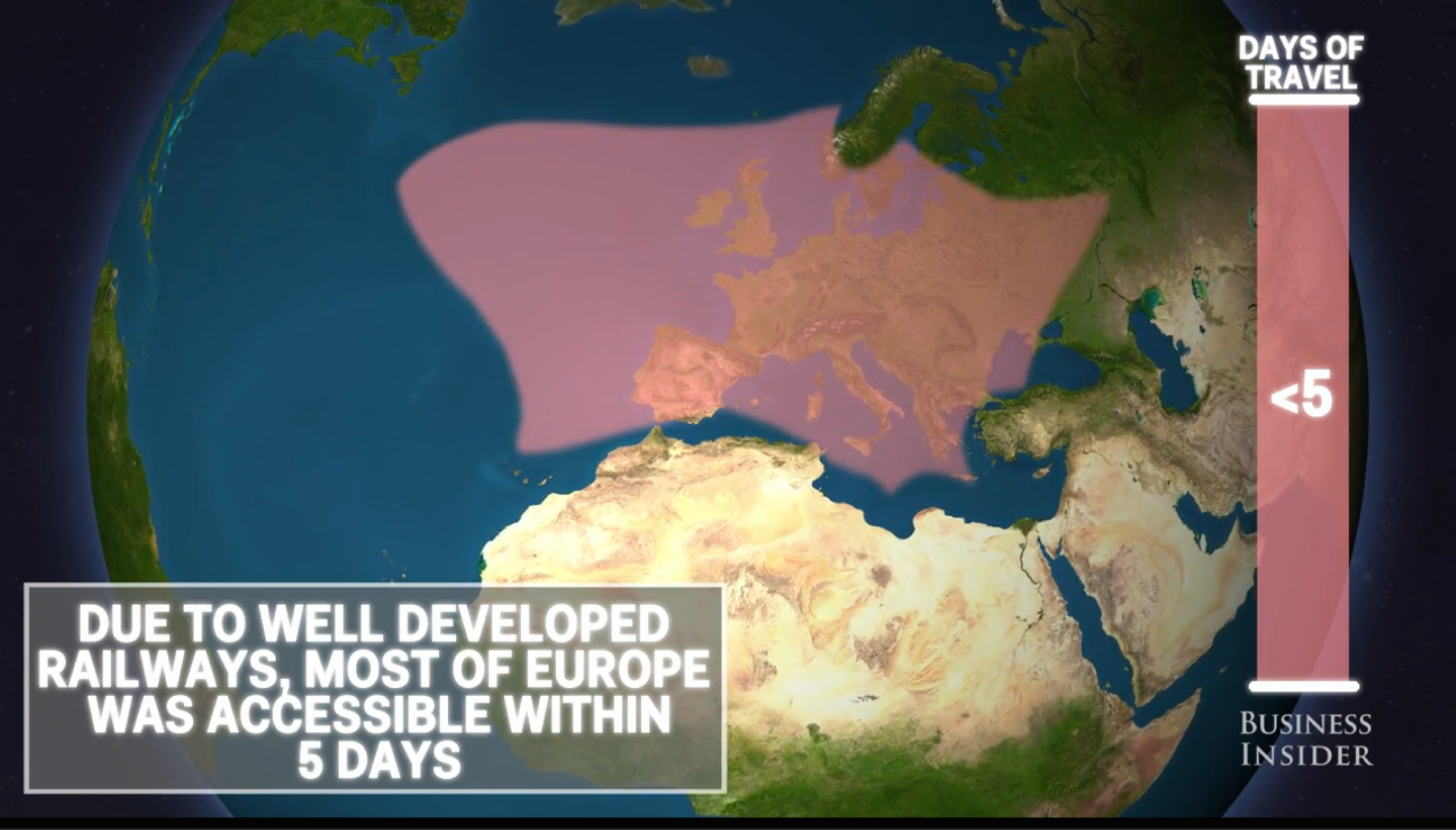 Animated map shows the time it took to travel the world 100 years ago
