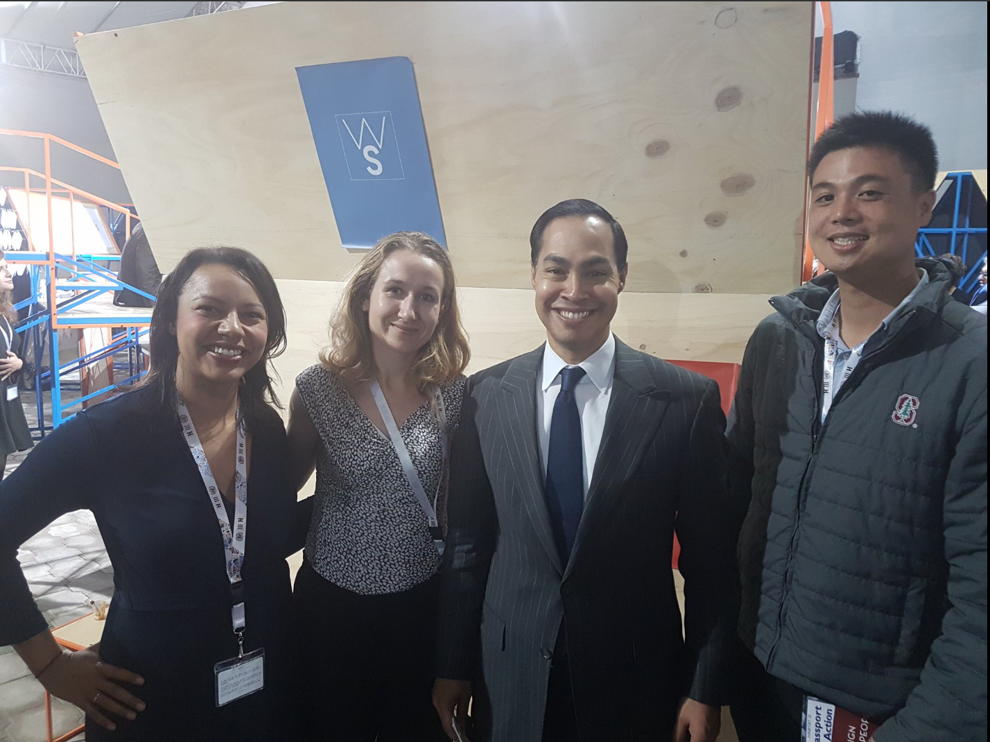 A Stanford alumni reunion at HABITAT III.  From left to right, Chantel Rush ('08), Caroline Nowacki (MS'14), Secretary of Housing and Urban Development Julian Castro ('96) and Kevin Hsu ('08, MS'11).