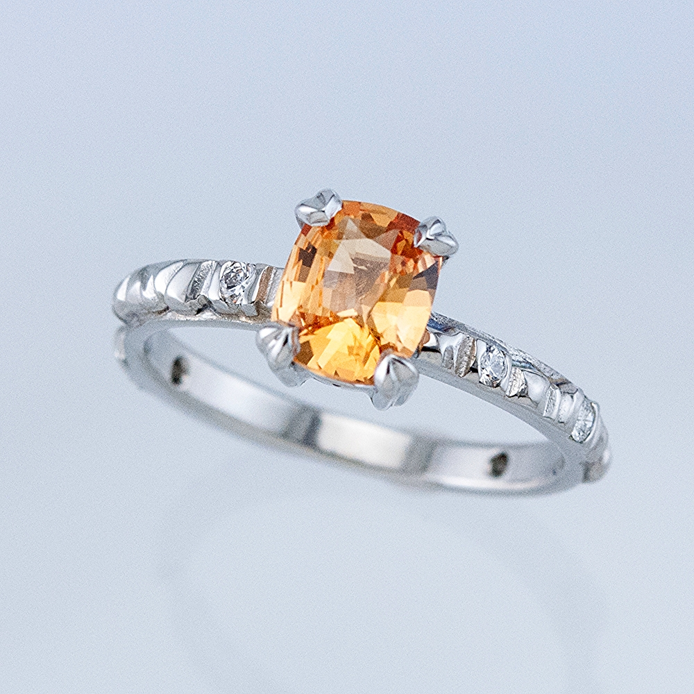 Platinum Mesa Ring with Peach Sapphire