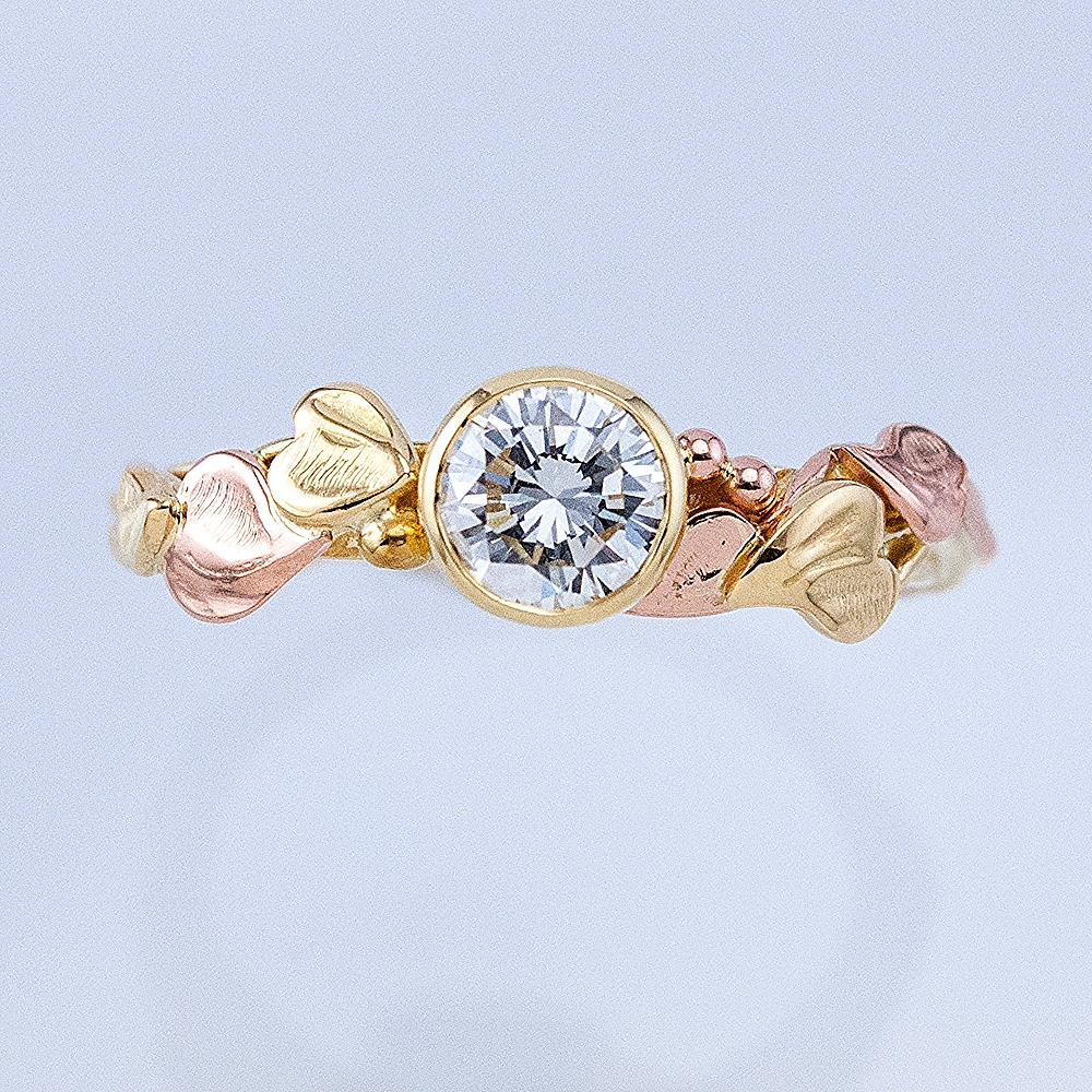 Morning Glory Solitaire in Yellow and Rose gold