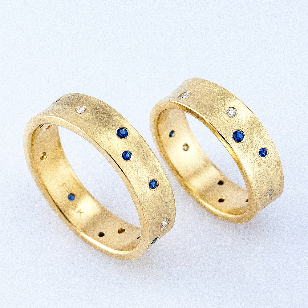 Pair of Desert Wedding Bands with Sapphires and Diamonds
