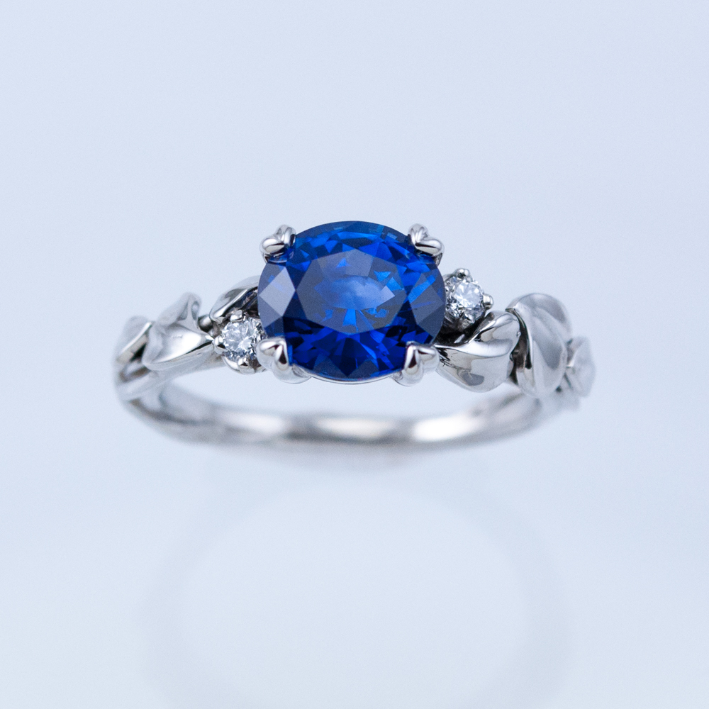 Platinum Morning Glory Ring with Ceylon Sapphire