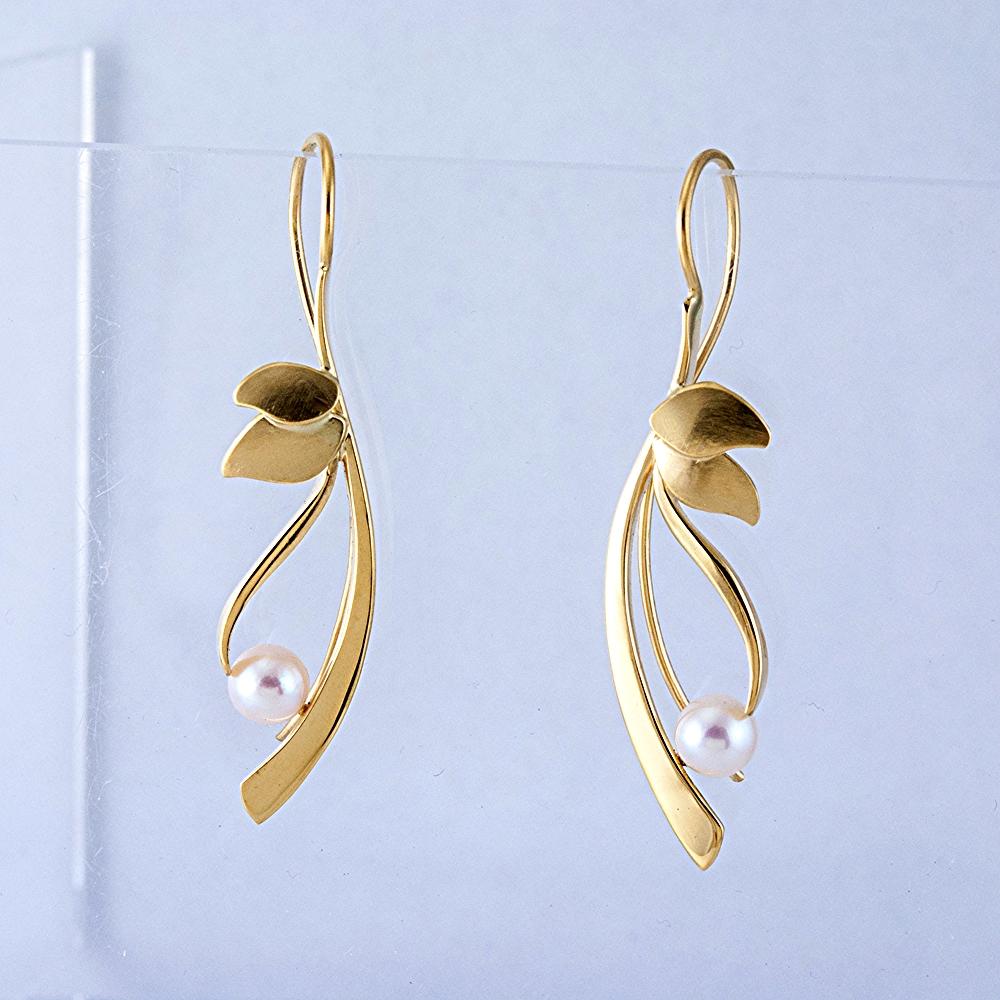 Reeds Earrings with Akoya Pearls