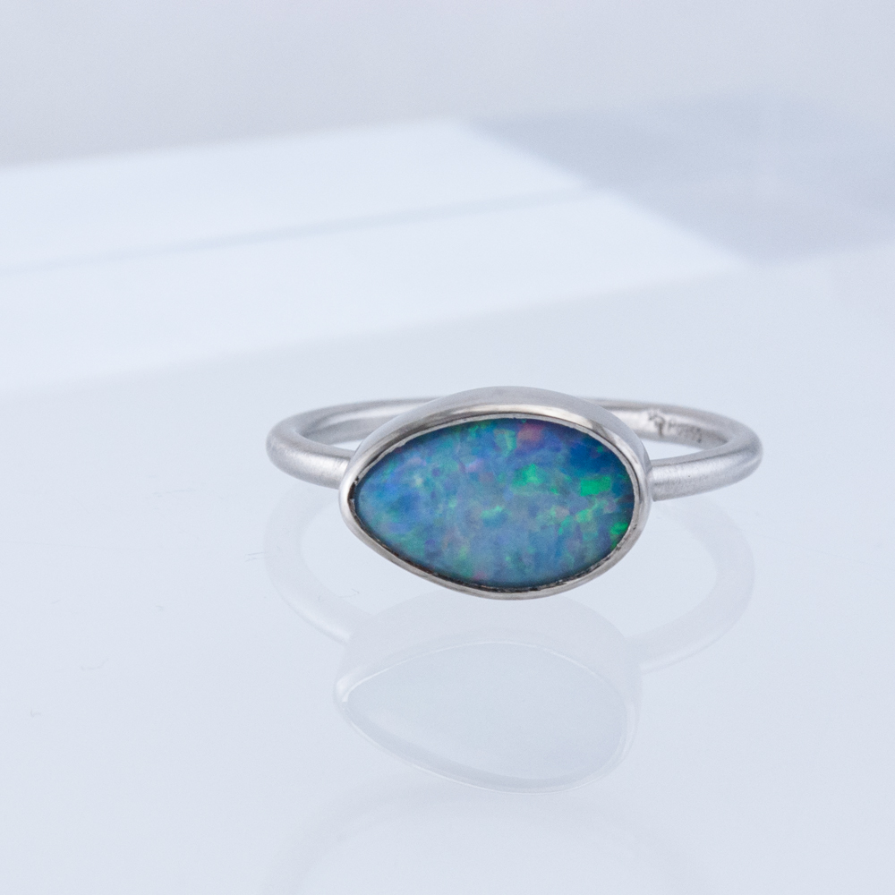 Palladium Opal Stacking Ring